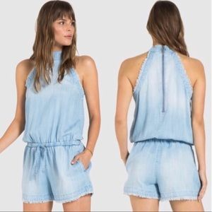 Cloth & stone chambray romper frayed edges